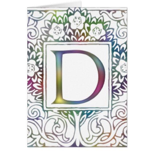 Monogram D- Soft Colors Card