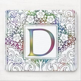 Monogram D- Soft Colors Mouse Pad