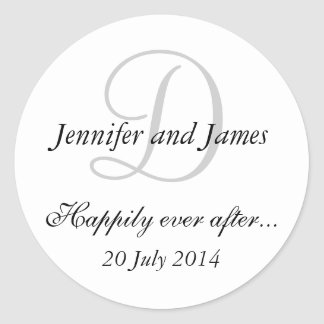 Monogram D Stickers for Wedding Favours