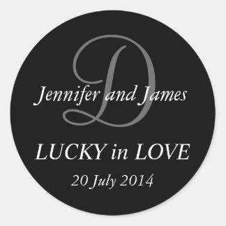 Monogram D Stickers for Weddings Black