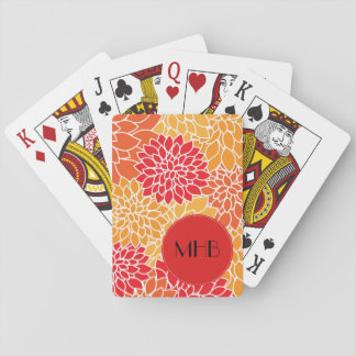 Monogram - Dahlia Flowers, Blossoms - Orange Red Playing Cards