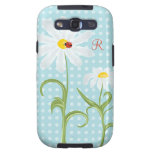 Monogram Daisies and Lady Bug Polka Dot Blue Samsung Galaxy S3 Covers