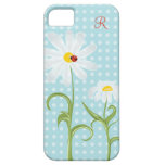 Monogram Daisies and Lady Bug Polka Dot Blue iPhone 5 Covers
