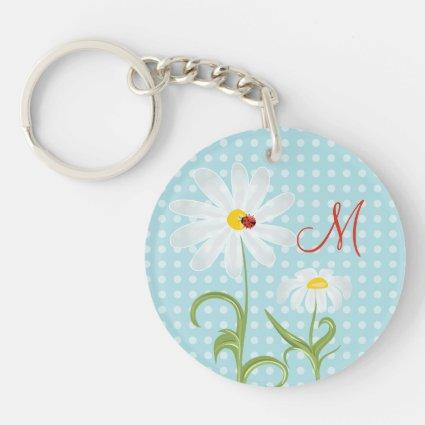 Monogram Daisies and Lady Bug Polka Dot Blue Double-Sided Round Acrylic Keychain