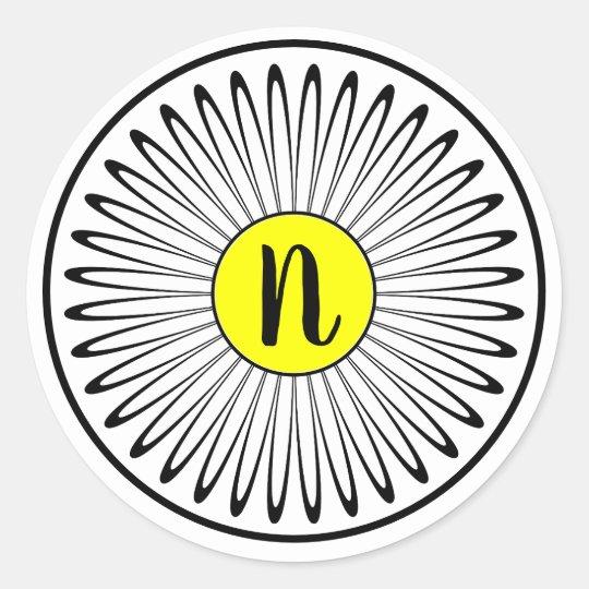 Monogram Daisy Classic Round Sticker