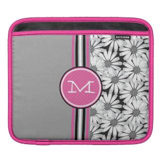 Monogram Daisy Pink Black and White iPad Sleeve