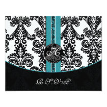 monogram damask aqua rsvp cards