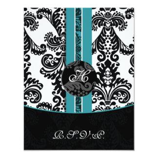 monogram damask aqua rsvp cards