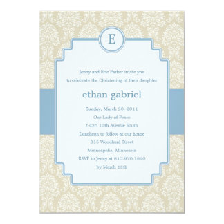 Monogram Damask Baptism/Christening Invite - Blue
