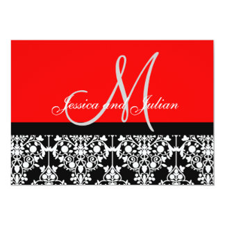 "Monogram Damask Black and Red Invitation 5"" X 7"" Invitation Card"