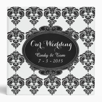 Monogram Damask Black & White Wedding Album Binder