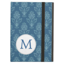 monogram Damask Blue Ikat Pattern iPad Air Case