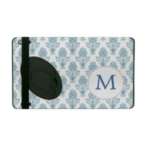 monogram Damask Blue Ikat Pattern iPad Cases