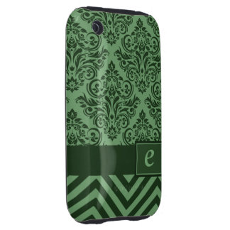 Monogram Damask Chevron Deluxe Designer iPhone 3 Tough Case