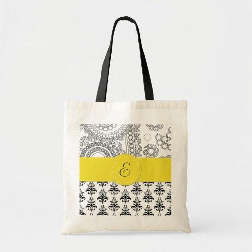 Monogram - Damask, Circles - Black White Yellow Bags