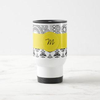 Monogram - Damask, Circles - Black White Yellow Mugs