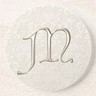Monogram Damask coasters - letter M