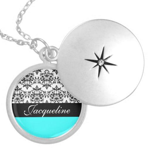Monogram damask girls name pendant