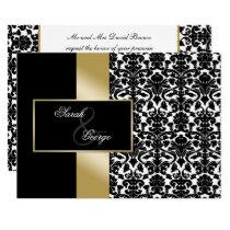 monogram damask gold wedding invitation