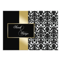 monogram damask gold wedding invitation
