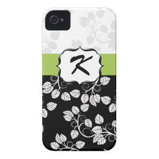 Monogram Damask green iPhone 4 Case-Mate Cases