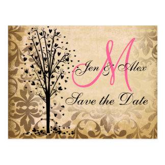 Monogram Damask Heart Tree Save the Date Cards