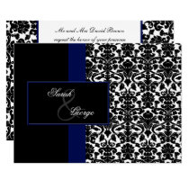monogram damask navy wedding invitation