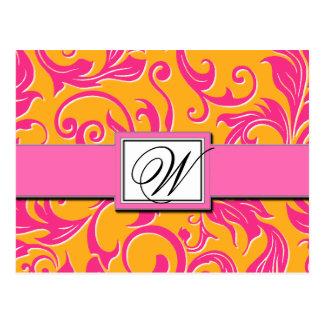 Monogram Damask Orange Pink Wedding Save the Dates Postcard