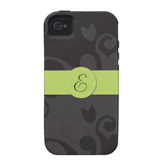 Monogram - Damask Ornaments - Gray Black Green Vibe iPhone 4 Cases