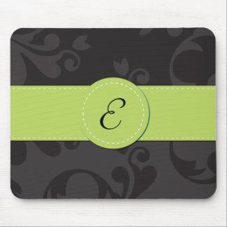 Monogram - Damask, Ornaments - Gray Black Green Mouse Pad