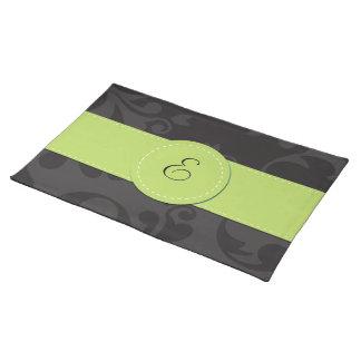 Monogram - Damask Ornaments - Gray Black Green Place Mat
