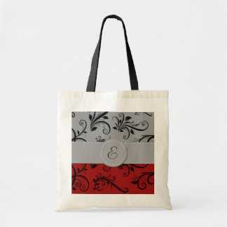 Monogram - Damask, Ornaments - Red Black Gray Canvas Bags