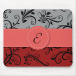 Monogram - Damask, Ornaments - Red Black Gray Mouse Pad