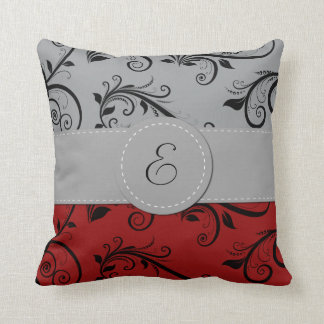 Monogram - Damask, Ornaments - Red Black Gray Throw Pillows