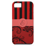 Monogram - Damask, Ornaments, Stripes - Red Black iPhone 5/5S Cases