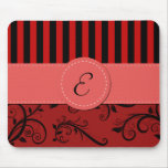 Monogram - Damask, Ornaments, Stripes - Red Black Mouse Pad