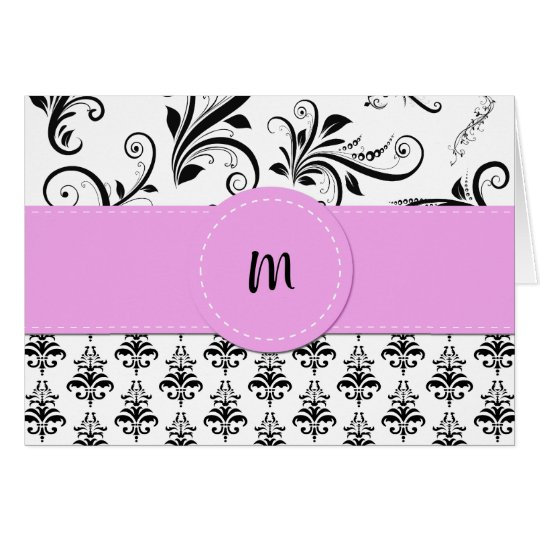 Monogram - Damask, Ornaments, Swirls - Black White Card