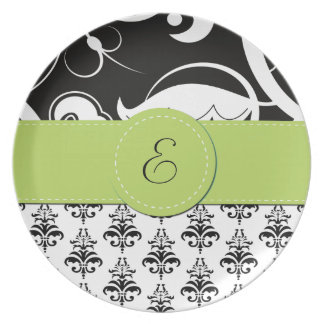 Monogram - Damask, Ornaments, Swirls - Black White Dinner Plate