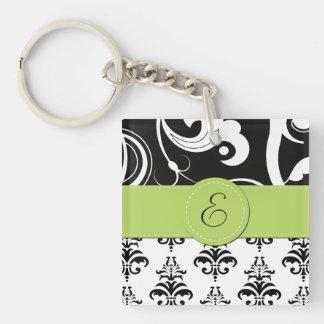Monogram - Damask, Ornaments, Swirls - Black White Keychain