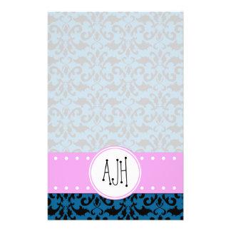 Monogram - Damask, Ornaments, Swirls - Blue Black Stationery