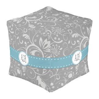 Monogram - Damask, Ornaments, Swirls - Gray White Cube Pouf