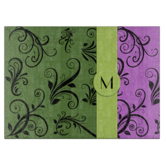 Monogram - Damask, Ornaments, Swirls - Green Black Cutting Board
