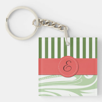 Monogram - Damask, Ornaments, Swirls - Green Keychain
