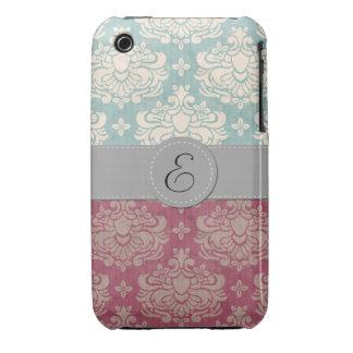 Monogram - Damask Ornaments Swirls - Pink Blue iPhone 3 Cases