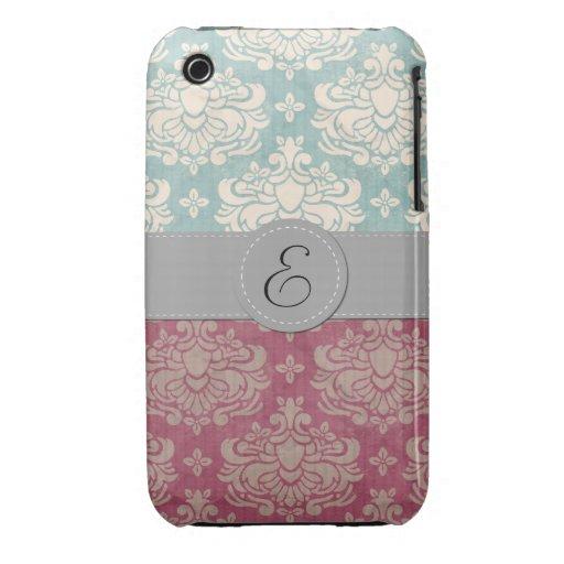 Monogram - Damask, Ornaments, Swirls - Pink Blue iPhone 3 Cover