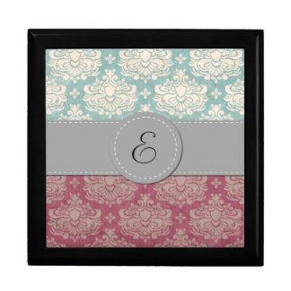 Monogram - Damask Ornaments Swirls - Pink Blue Jewelry Box
