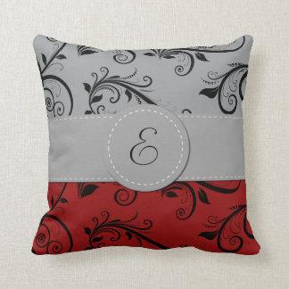 Monogram - Damask, Ornaments, Swirls - Red Black Throw Pillow