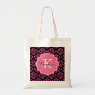 Monogram Damask Pattern with Pink Custom Tote Bag
