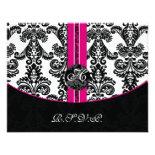 monogram damask pink rsvp cards invitation