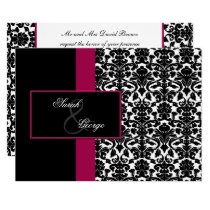 monogram damask pink wedding invitation